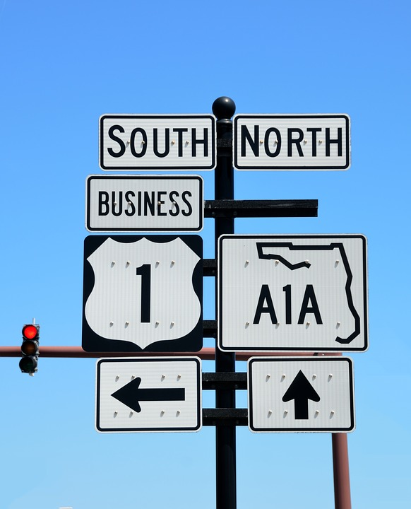 A1a Road Sign, Sign, Signage, Directions, Florida, Road