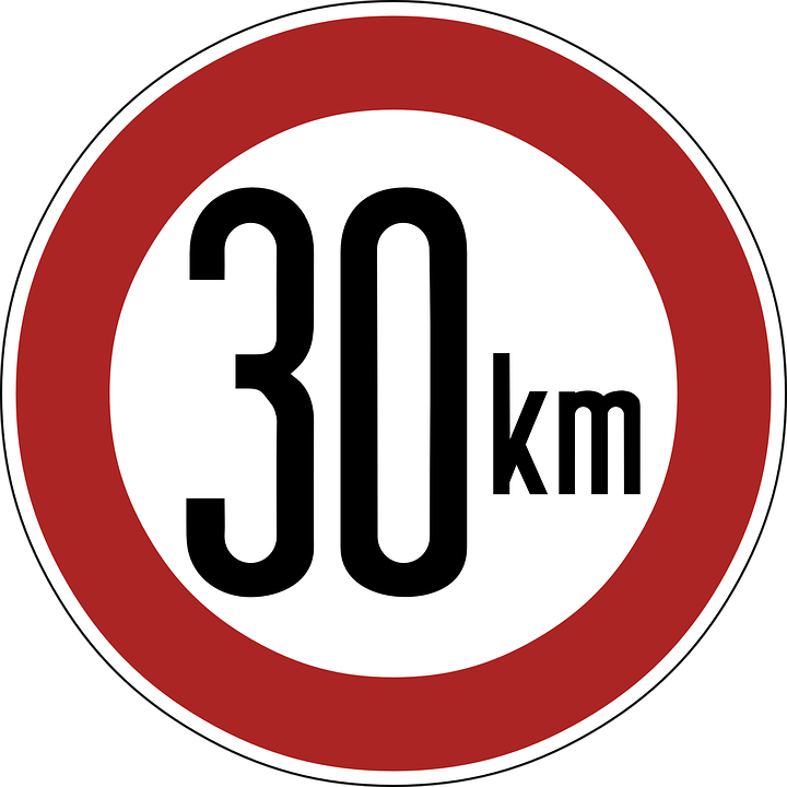 Speed Limit, Sign, 30 Km, Thirty Kilometers, Warning