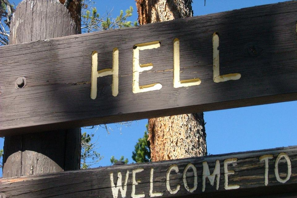 Hell, Sign, Warning, Welcome