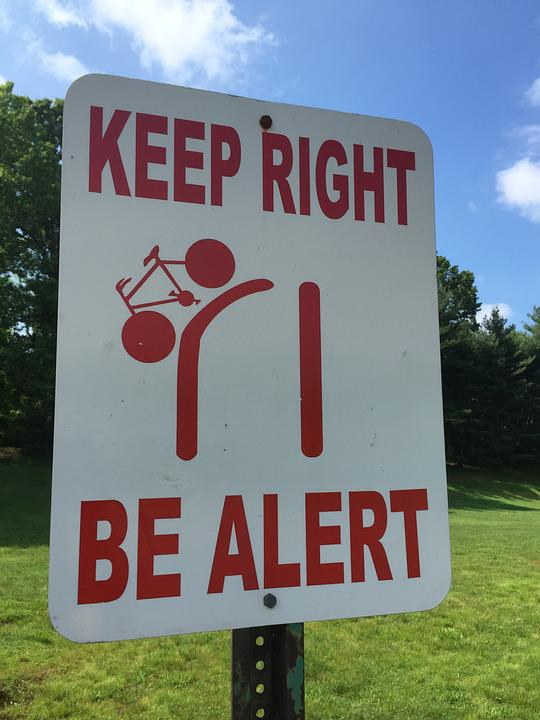 Sign, Keep Right Sign, Be Alert Sign, Signage
