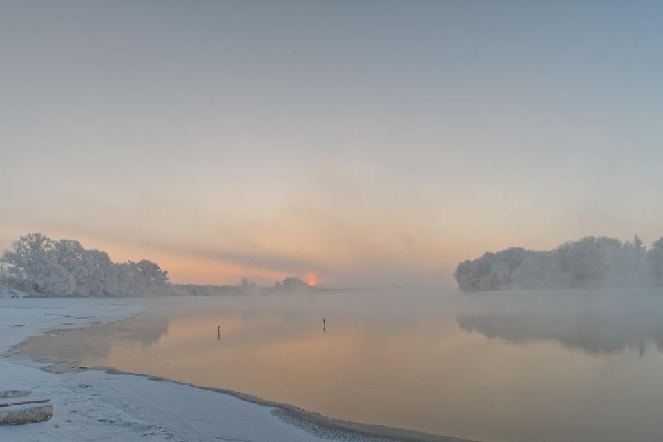 Winter, Dawn, Snow, Sky, Landscape, Background, Silence