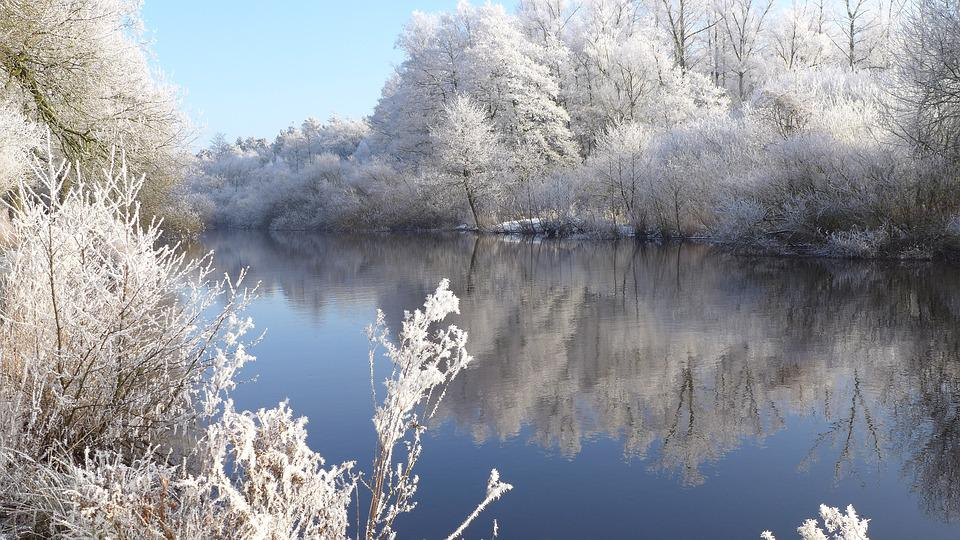 Silent, Harmony, Hoarfrost, Winter, River, Frost