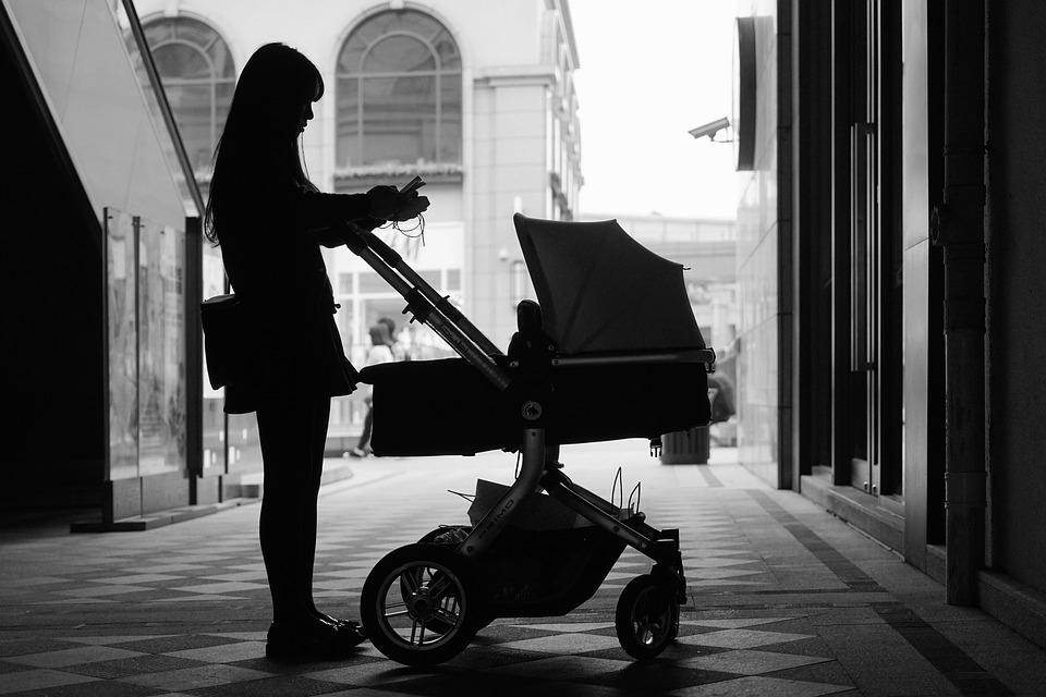 Girls, Silhouette, Cucoloris, Baby, Black And White