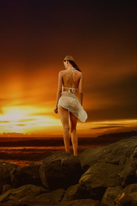Beautiful Sunset, Woman, Back View, Body, Silhouette