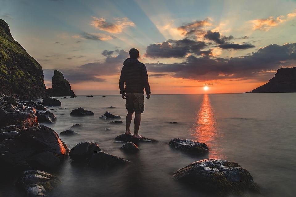 Man, Beach, Sunset, Silhouette, Backlighting