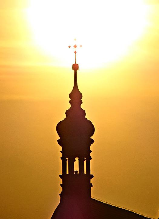 Bydgoszcz, Cathedral, Sunset, Turret, Tower, Silhouette