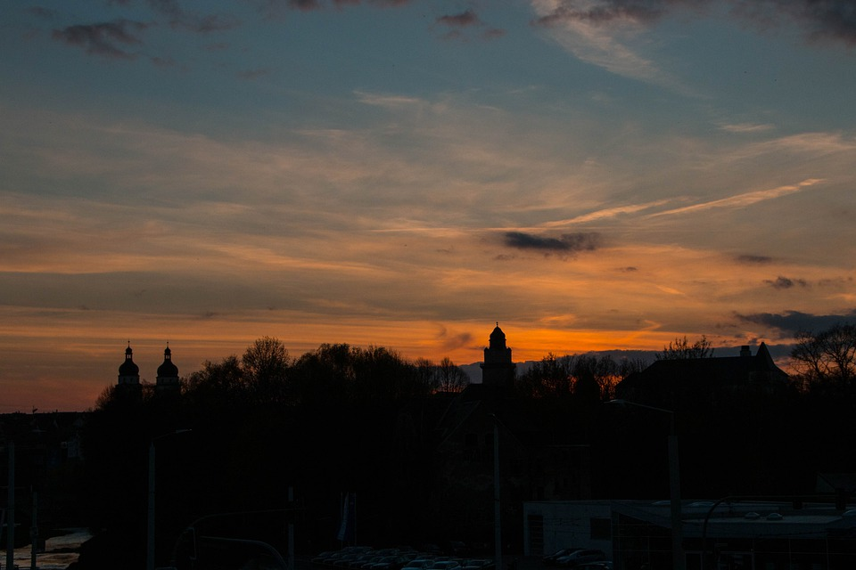 Sunset, Sky, Clouds, Town Hall, Church, Silhouette
