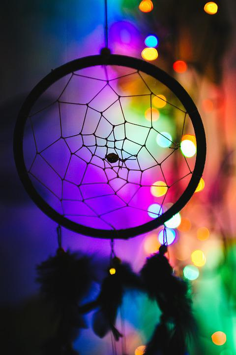 Colorful, Colourful, Dream Catcher, Lights, Silhouette