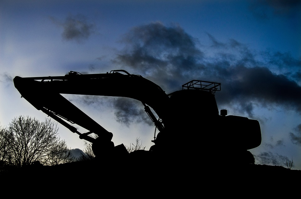Digger, Sunset, Silhouette