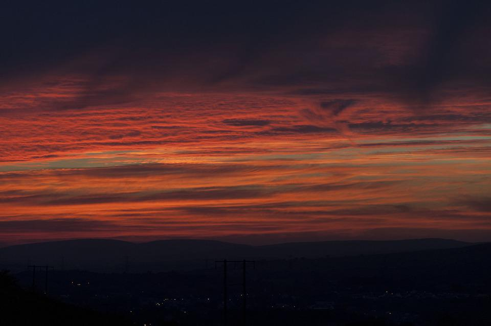 Sunset, Silhouette, Landscape, Dusk, Sky, Nature