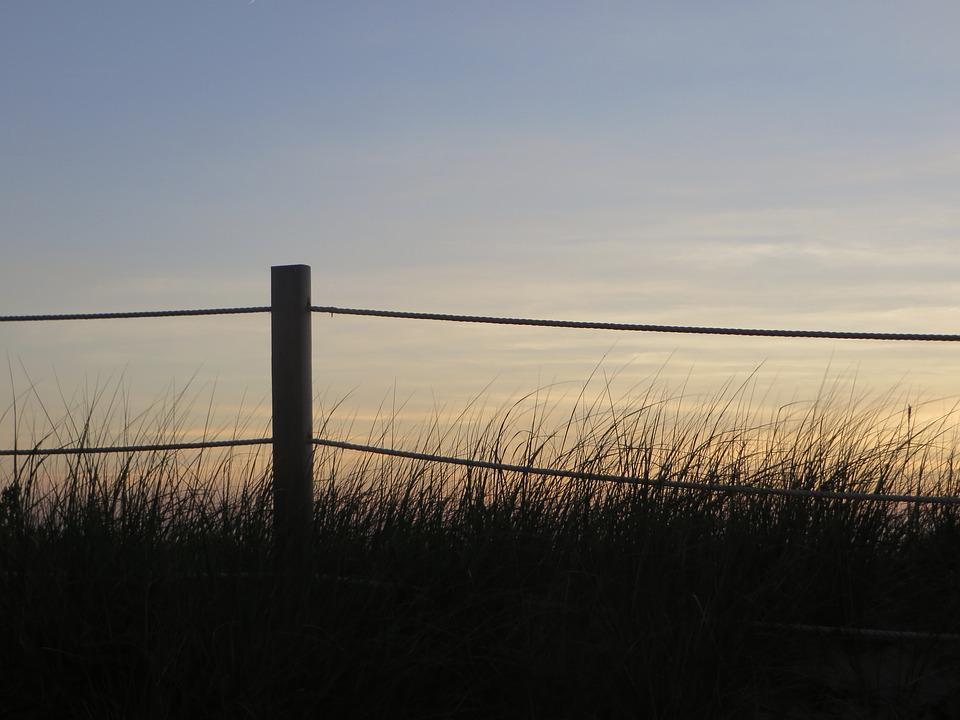 Rope Fence, Silhouette, Sunset, Dusk, Evening, Grass