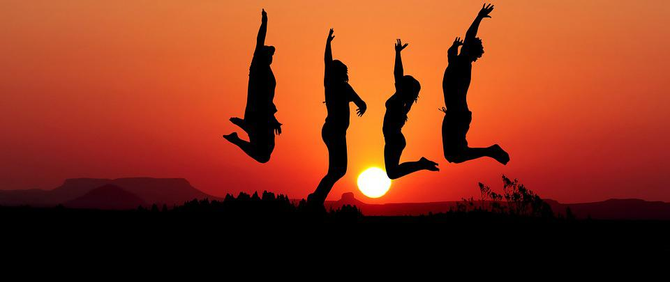 Sunset, Jump, Sport, Young, Happy, Friends, Silhouette