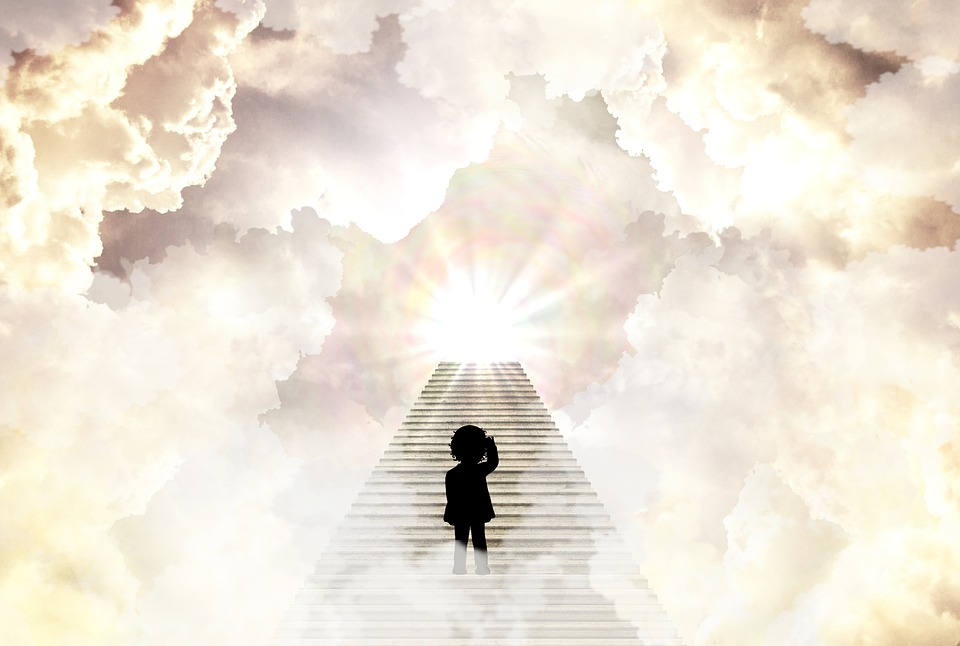 Girl, Heaven, Stairs, Child, Silhouette, Clouds