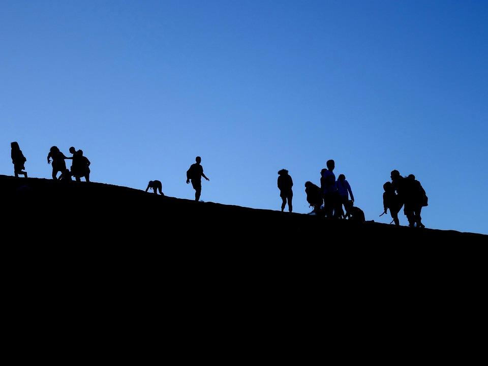 Silhouette, Shadow, Group, Human, Figures, Sky