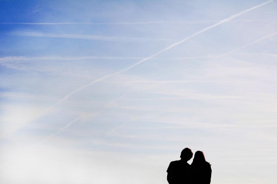 Sky, Pair, Couple, Blue, Human, Silhouette, Contrail