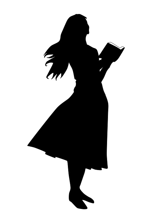 Woman Reading The Bible, Illustration, Silhouette