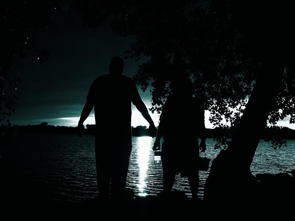 Silhouette, Lake, Summer, Night