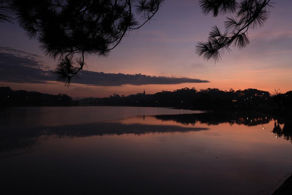 Lake, Town, Sunrise, Sunset, Silhouette, Dark