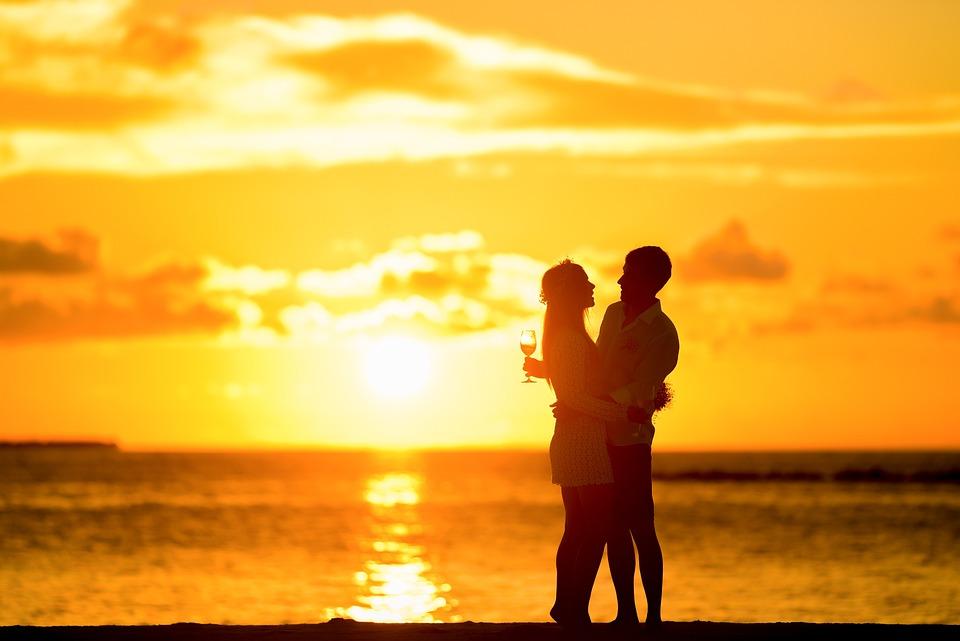 Couple, Silhouette, Beach, Sunset, Lovers, Hug, Hugging