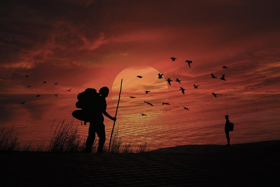 Manipulation, Sunset, Sky, Sea, Silhouette, Adventurer