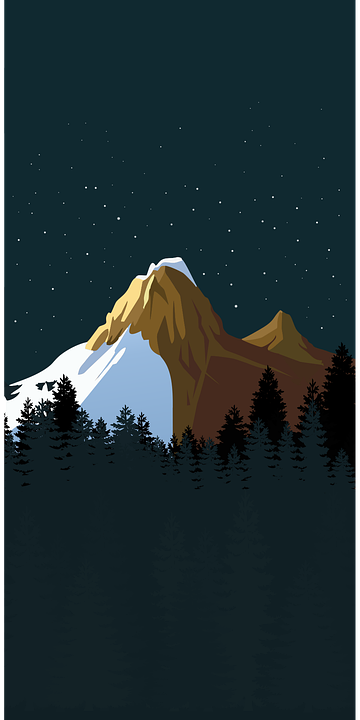 Mountains, Snow, Trees, Silhouette, Night, Night Sky