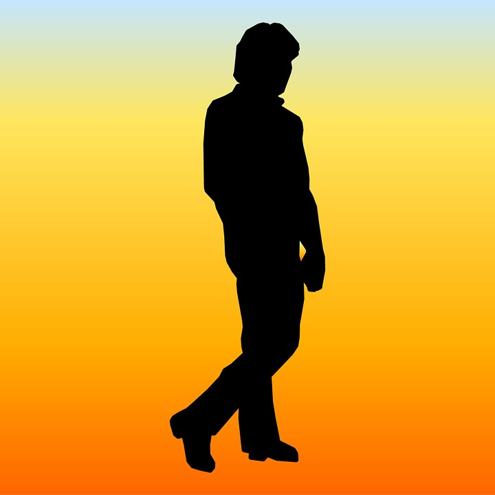 Man, Walking, Orange, Flame, Background, Silhouette