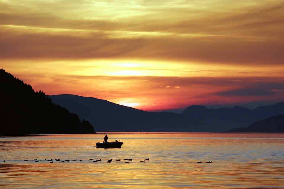Dawn, Dusk, Lake, Nature, Outdoors, Silhouette, Sky