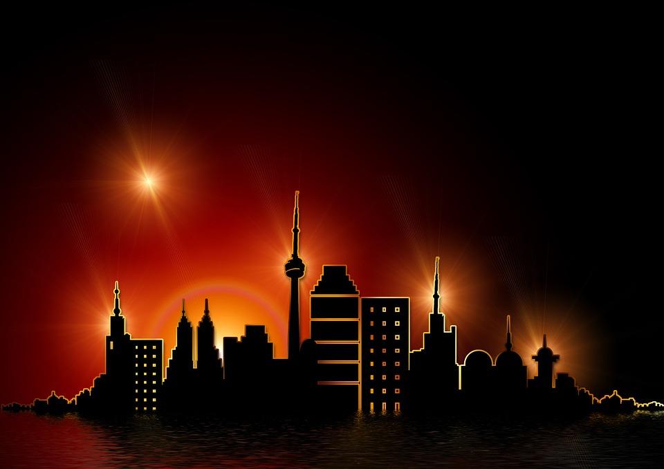 Gold, Golden, Skyline, Skyscraper, Silhouette, Postcard