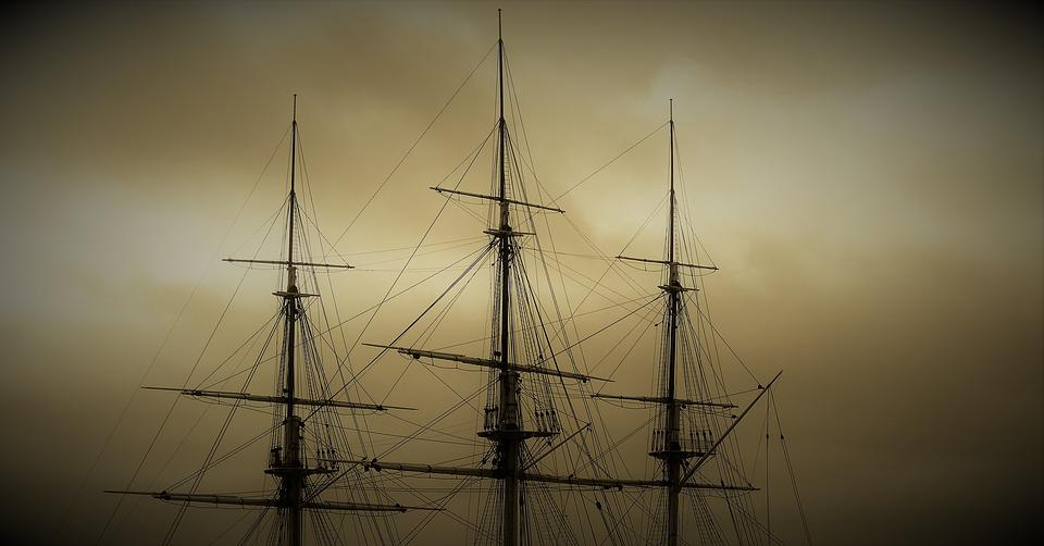 Sky, Sunset, Ship Masts, Sailing Vessel, Silhouette