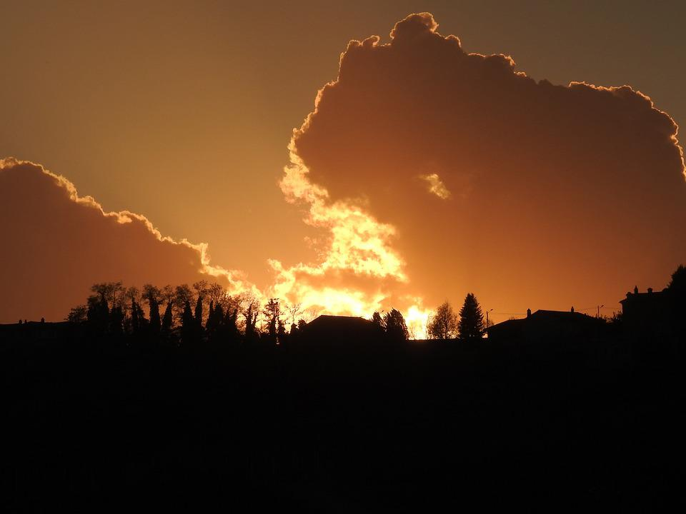 Sunset, Sky, Silhouette, Scenic, Clouds