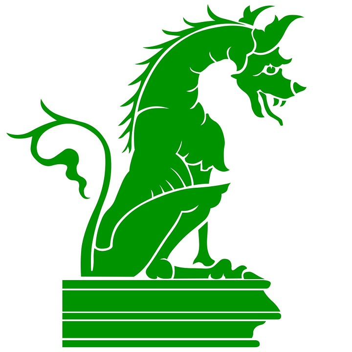 Green, Dragon, Silhouette, Sculpture, Animal, Beast