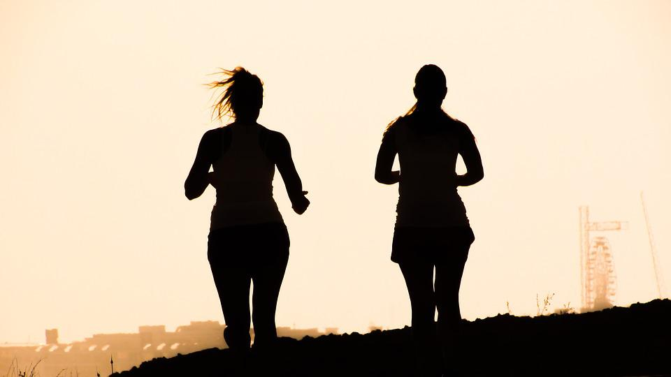 Figures, Shadows, Girls, Running, Afternoon, Silhouette