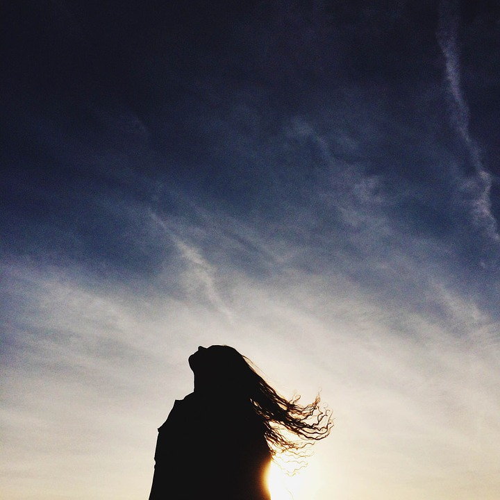 Sunset, Girl, Silhouette, Long Hair, Woman, Sky, People