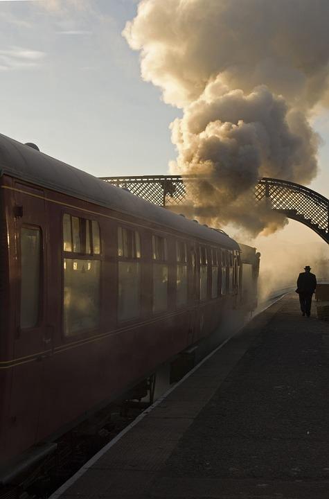 Train, Steam, Vintage, Silhouette