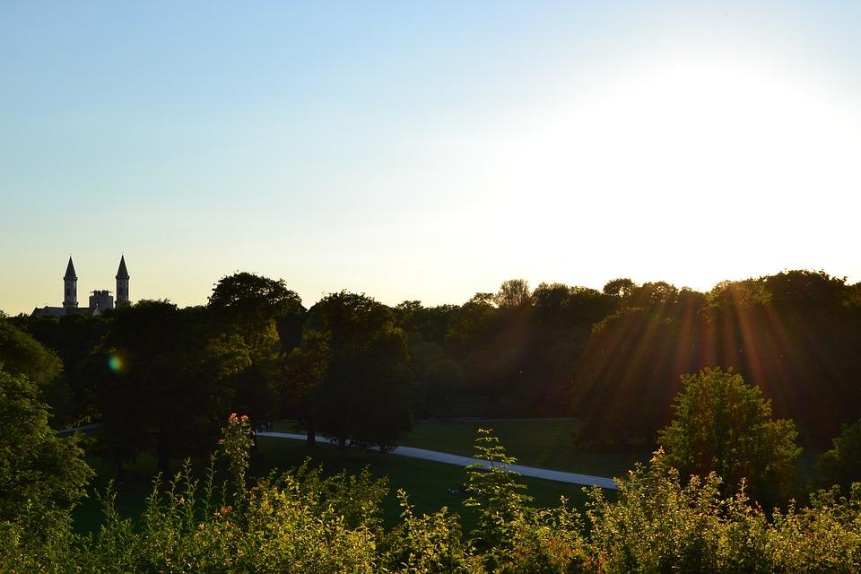 English Garden, Munich, Sunset, Silhouette, Bavaria