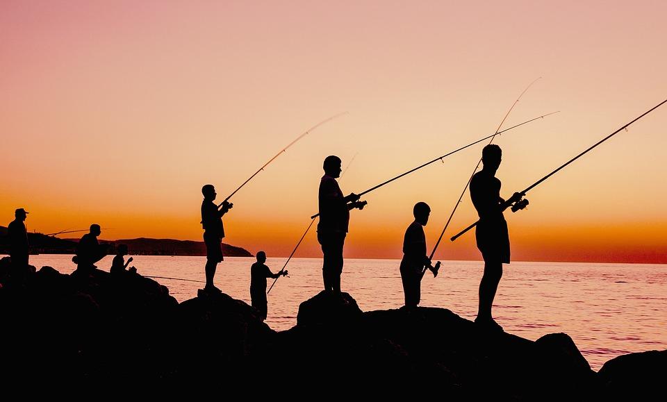 Fishing, Sunset, Fishermen, Silhouette