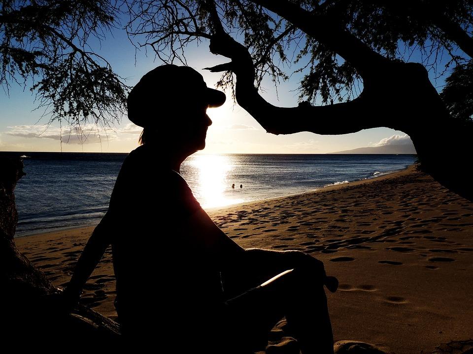 Silhouette, Beach, Sea, Ocean, Sand, Tropical, Paradise