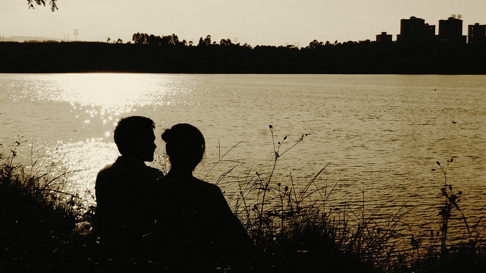Silhouette, Twilight, Lake, Romantic, Evening
