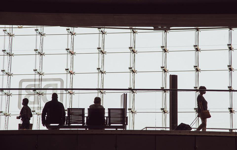 Silhouettes, People, Bench, Suitcase, Building