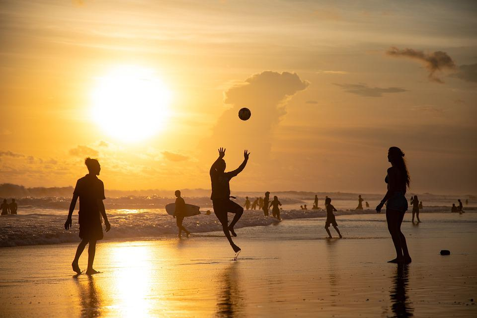Sunset, Volleyball, Beach, Silhouettes