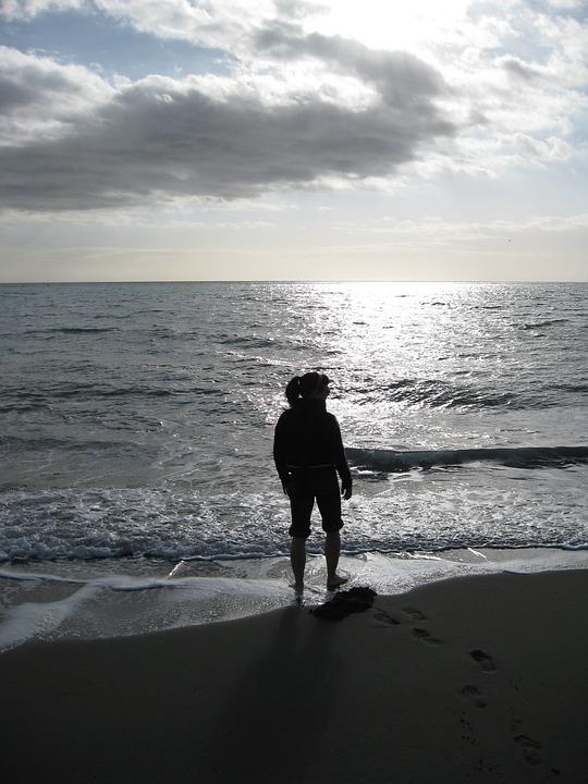 Sillhoutte, Cloud, Sea Beach