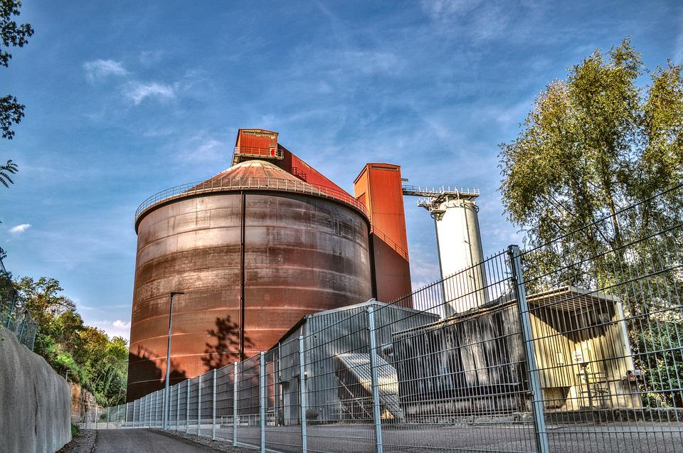 Cement Plant, Silo, Bicycle Path, Indian Summer
