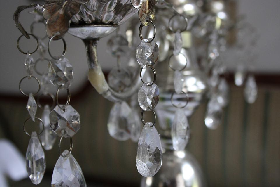 Crystal, Chandelier, Candlestick, Glass, Silver, Old