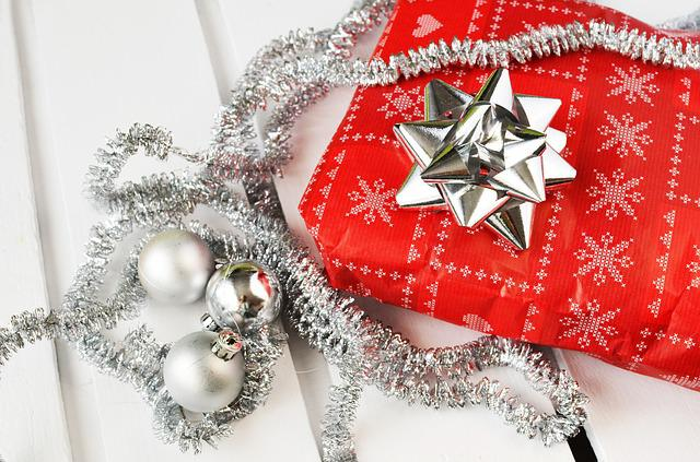 Gifts, Presents, Christmas, Bow, Ribbon, Silver
