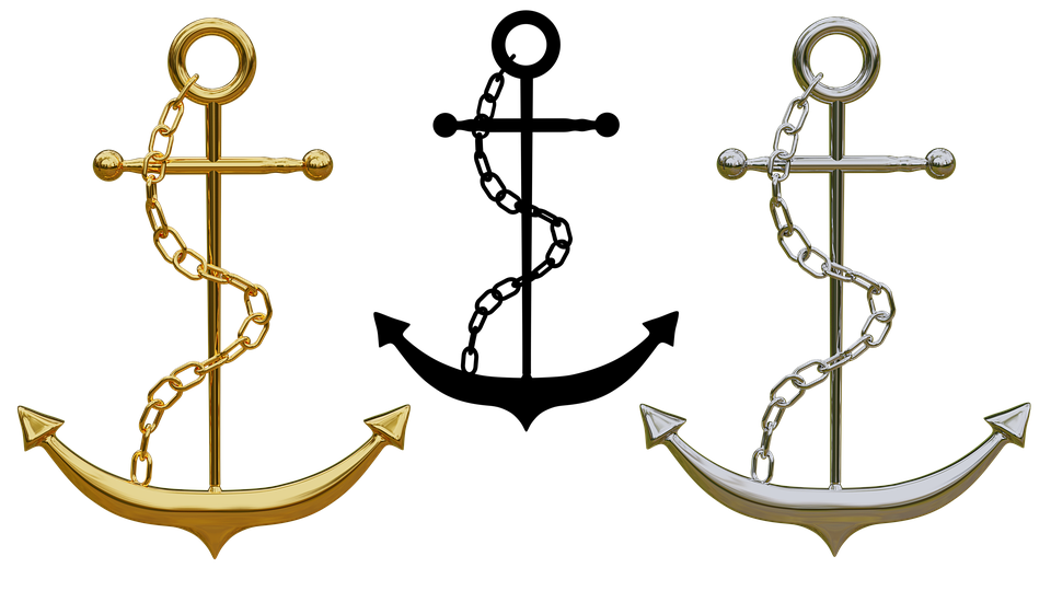Anchor, Trailers, Jewellery, Isolated, Gold, Silver