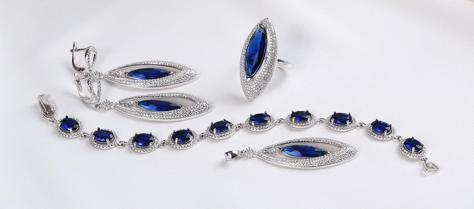 Silver Jewelry Set, Silver Earring, Blue Gemstone