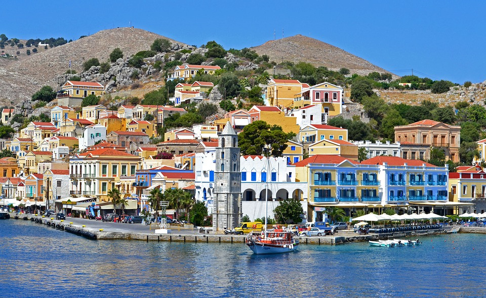 City, Mountains, Chapel, Greece, Simi, Sea, Quay