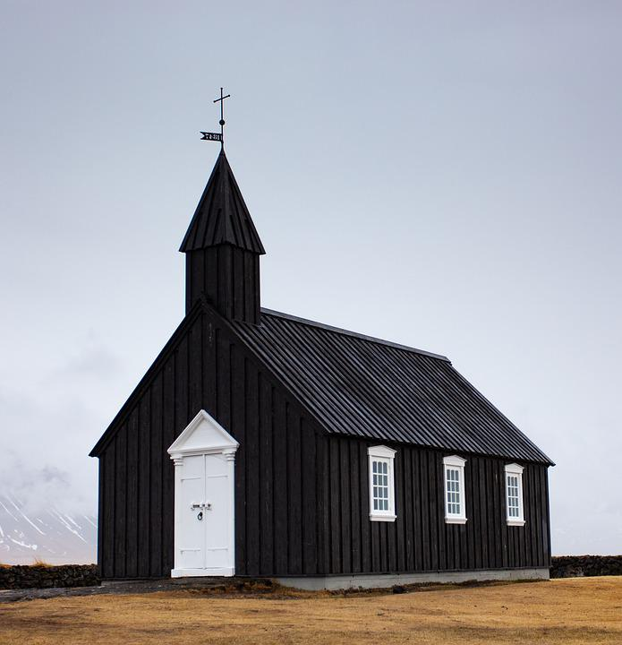 Church, Building, Mood, Black, Simple, Iceland