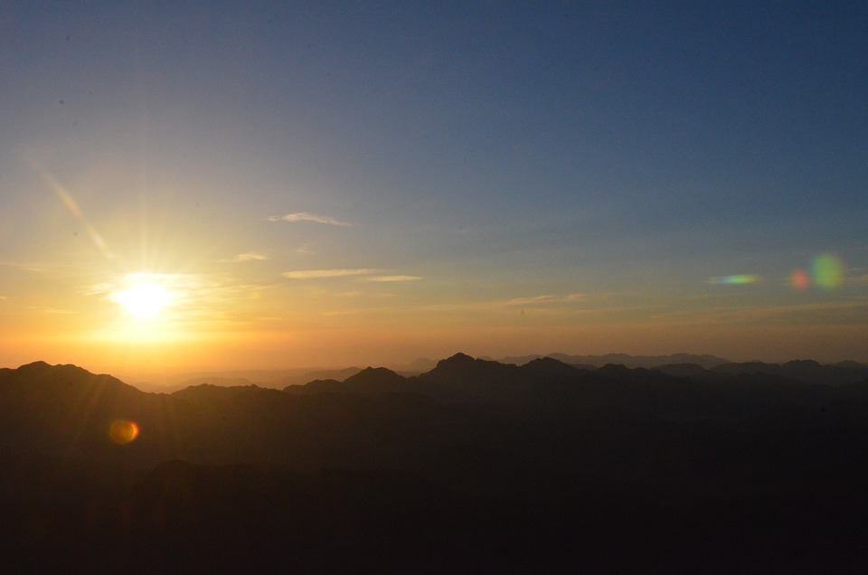 Sun, Sunrise, Sinai, Mountain Top, Sky, Clouds