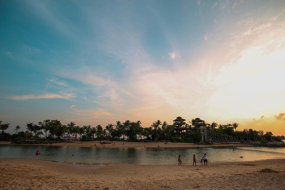 Beach, Singapore, Summer, Sunset, Sky, Asia, Water